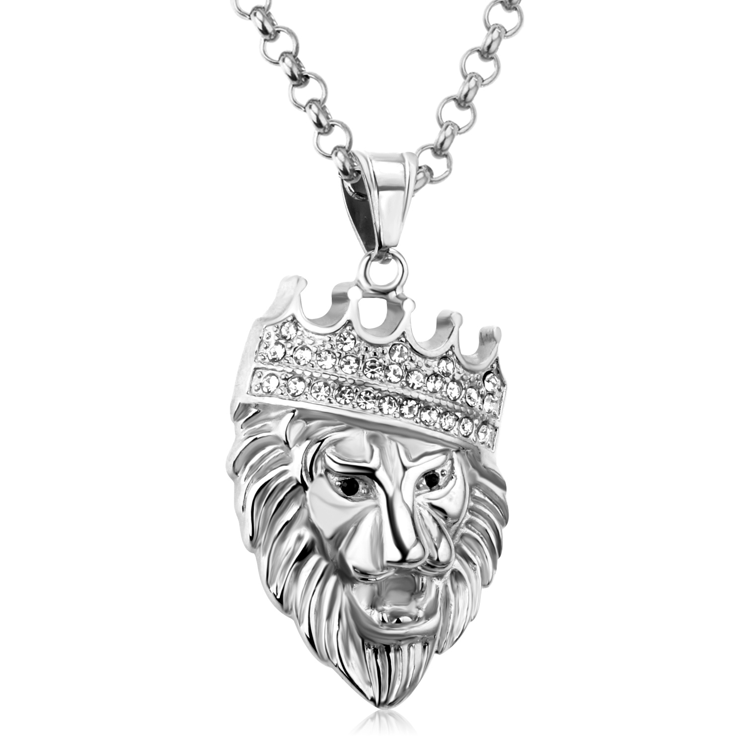 chain head garment lion pendant versus necklace silver versace quarter disk