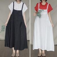 Women Striped Summer Jumpsuit Sleeveless Strappy High Waist Ladies black white cotton Jumpsuit H67