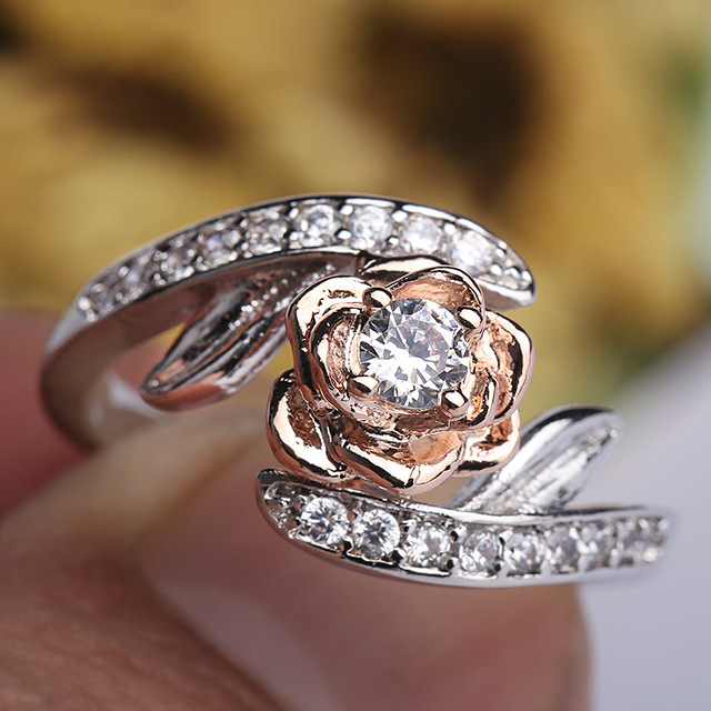 Mossovy Rose Gold Ring Flower Zircon Engagement Ring Fashion Jewelry Wedding Rings for Women Bague Femme Anillos Mujer Anillos