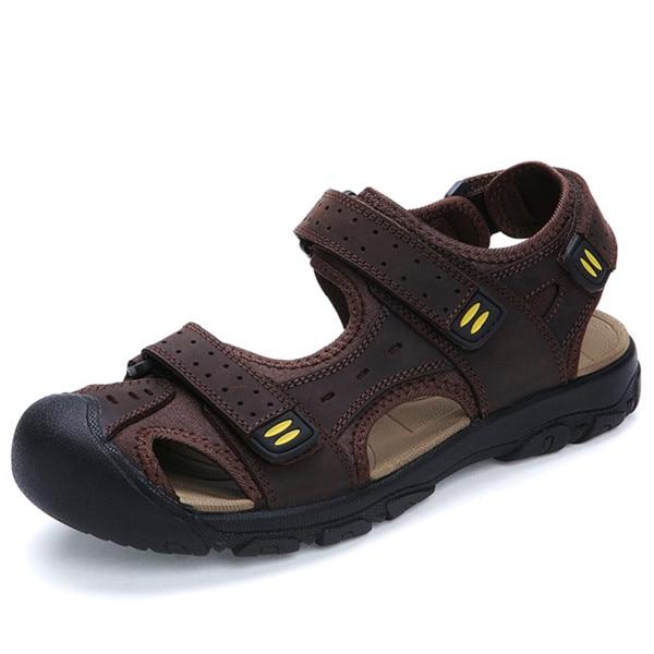 Classique Hommes En Cuir Véritable Sandales Mocassins Décontractés Grande Taille 38 48 Qualité Mode Homme été Plage Chaussures Marron Kaki