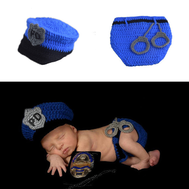 2Pcs/Set Newborn Baby Police Costume Crochet Infant Hats Boys Police Baby Photography Props Kids  sc 1 st  AliExpress.com & 2Pcs/Set Newborn Baby Police Costume Crochet Infant Hats Boys Police ...