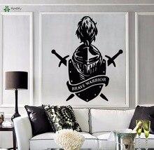 YOYOYU Vinyl Wall Decal Brave Warrior Knight Head Helmet Swords Shield Room Home A Decoration Stickers FD229