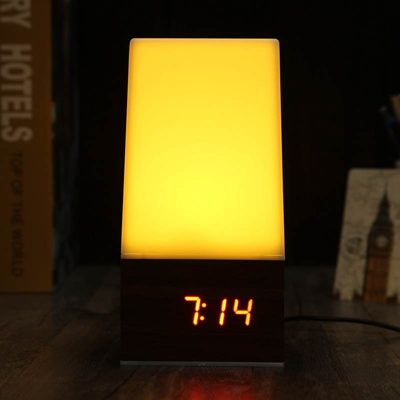 Dimmable Wooden Night Light Voice Control LED Table Lamp Touch Desk Light Alarm Clock Calendar USB LED Table Light For Bedroom digital eye protect portable led reading lamp dimmable touch led table lamp led rechargeable desk lamp with calendar alarm colck