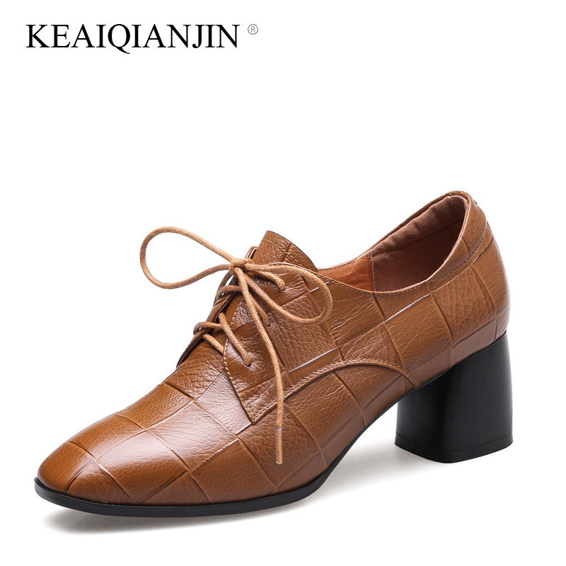 KEAIQIANJIN Woman Lace-Up Pumps Black Brown Plus Size 34 - 42 High Shoes Spring Autumn Retro Genuine Leather Pumps Square Toe keaiqianjin woman sheepskin flats black red silvery plus size 33 41 spring autumn derby shoes lace up genuine leather shoes