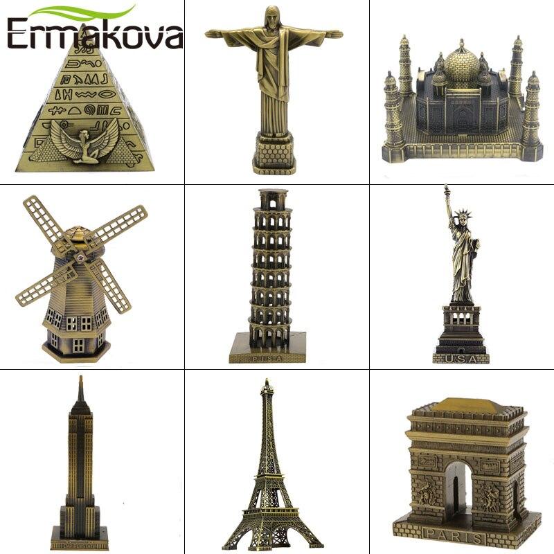 ERMAKOVA Metall Architektur Figurine Welt Berühmte Wahrzeichen Gebäude Souvenir Statue Home Office Desktop Decor Weihnachten Geschenk