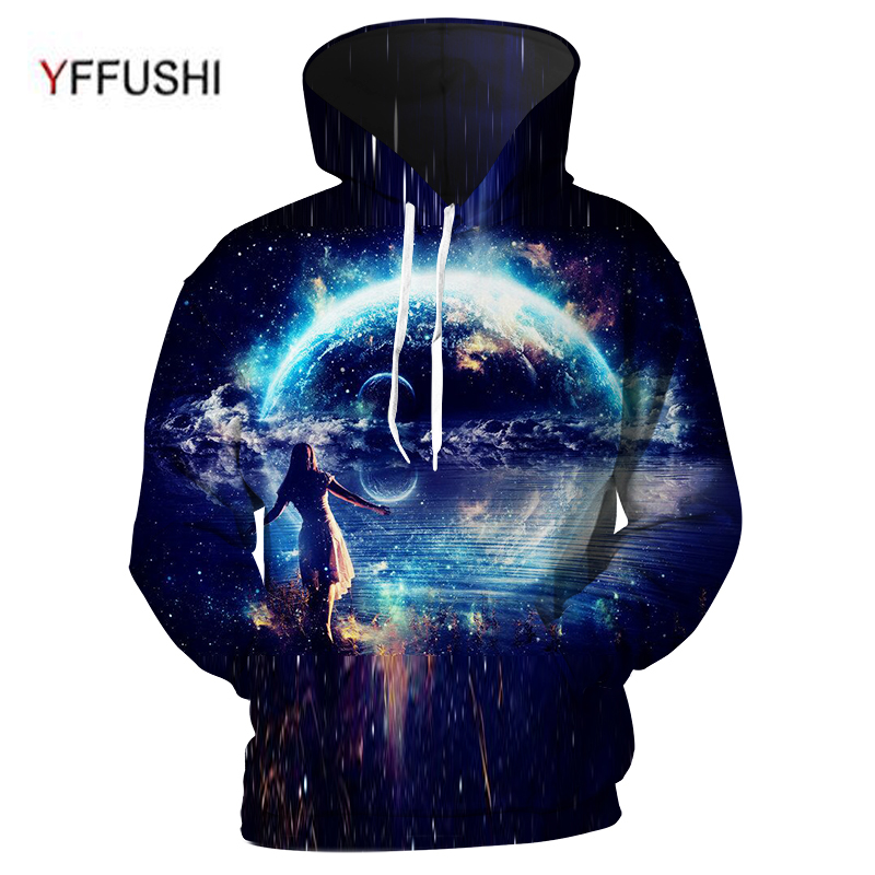 YFFUSHI 2018 New Arrival Cool Male 3d hoodies Amazing World Space 3d print Hoodies Hip Hop Hooded Pullovers Men Plus Size 5XL
