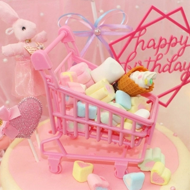 Cake Decorations Mini Pink Shopping Cart Trolley Birthday Pink Leopard Decor Creative Gift For Kid's Party Cartoon Leopard Toys