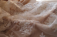 ivory beaded cord lace fabric, sequined lace fabric by the yard 5yards