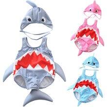 Детский купальник детская одежда для плавания для маленьких девочек и мальчиков, милый купальник-Акула, бикини, купальный костюм