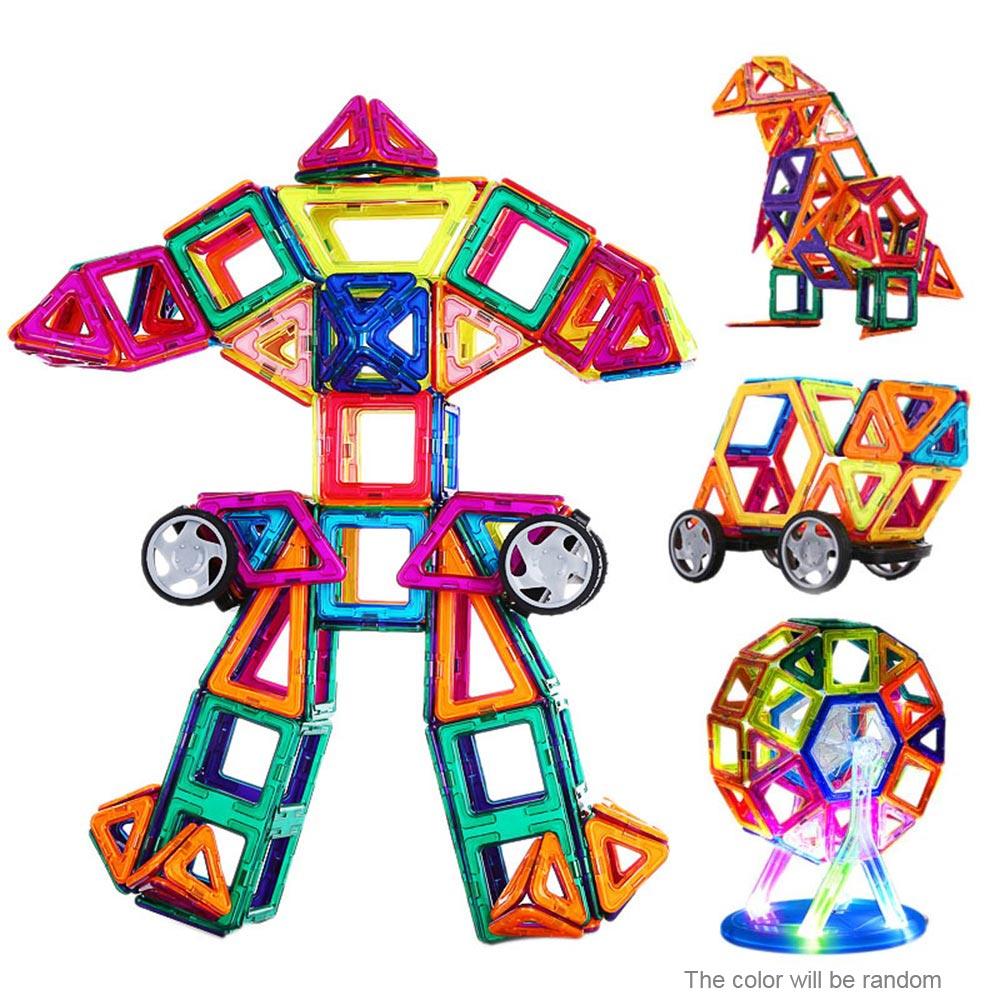158 шт. Магнитная здания Конструкторы 3D Магнитный конструктор здания Наборы Магнитная конструкция модели развивающие Игрушечные лошадки для детей подарок