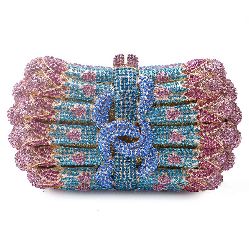 Butterfly Shape Wedding Bridal Hollow Out Gliter Crystal Diamond Clutch Bags Women Hard Metal Rhinestones Evening Handbags