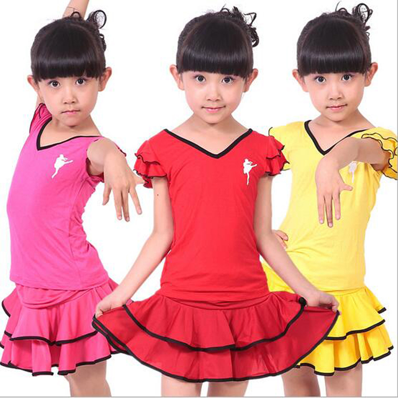 Bazzery Short Sleeve Latin Skirt Spring Autumn Children 's Latin Dance Clothing Training & Testing Wear Holiday Perform Costume