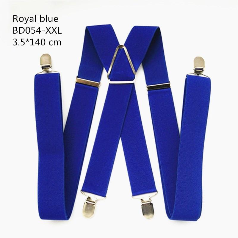 Одноцветные подтяжки унисекс для взрослых, мужские XXL, большие размеры, 3,5 см, ширина, регулируемые эластичные, 4 зажима X сзади, женские брюки, подтяжки, BD054 - Цвет: Royal blue-140cm