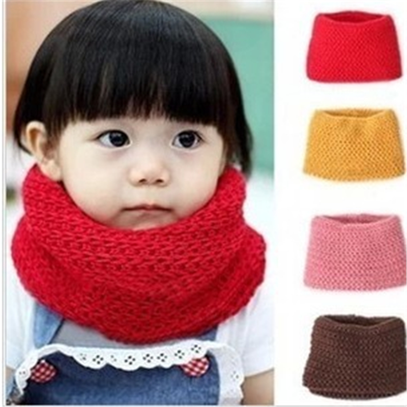 Dress Accessories Winter Neckerchief Women Children's Cotton Muffler Baby Bib Warm Soft Boys Scarves Girls Knitted Baby Scarf