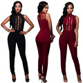 Womens Sexy Red Sleeveless Stand Collar High Waist Bandage Bodycon Jumpsuits Ladies Clubwear Long Pants Body suits