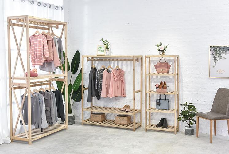 Clothing store retro women 39 s clothes hangers high end shelves solid wood landing display shelves in Storage Holders amp Racks from Home amp Garden