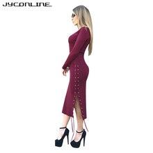 Jyconline осень 2017 г. стрейч вязаное платье пикантные длинные Платья-свитеры Для женщин V Средства ухода за кожей Шеи Тонкий Bodycon платье Разделение Платья для вечеринок женские