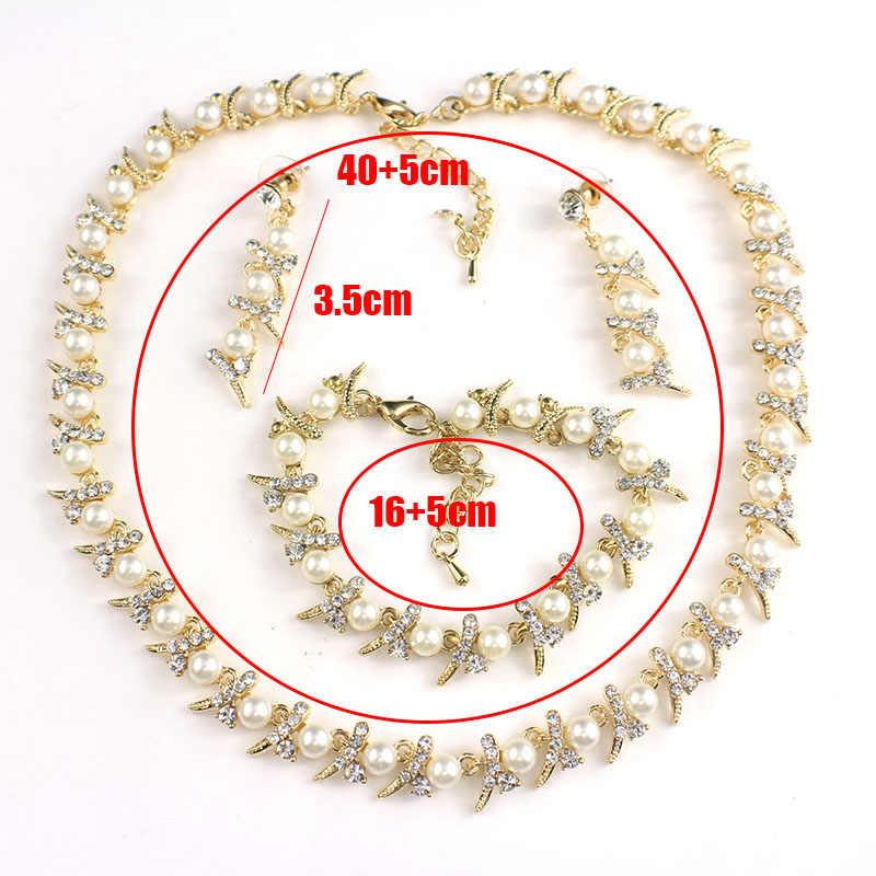 Jiayijiaduo Cassic biżuteria ze sztucznymi perłami zestaw afrykański koralik dla kobiet akcesoria ślubne złoty kolorowy naszyjnik długie kolczyki 2017