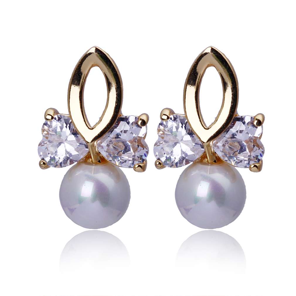 2 Heart Bowknot With Cz Pearl Stud Earrings Gold Color Fashion Jewelry  Womens Girls Modern Romantic