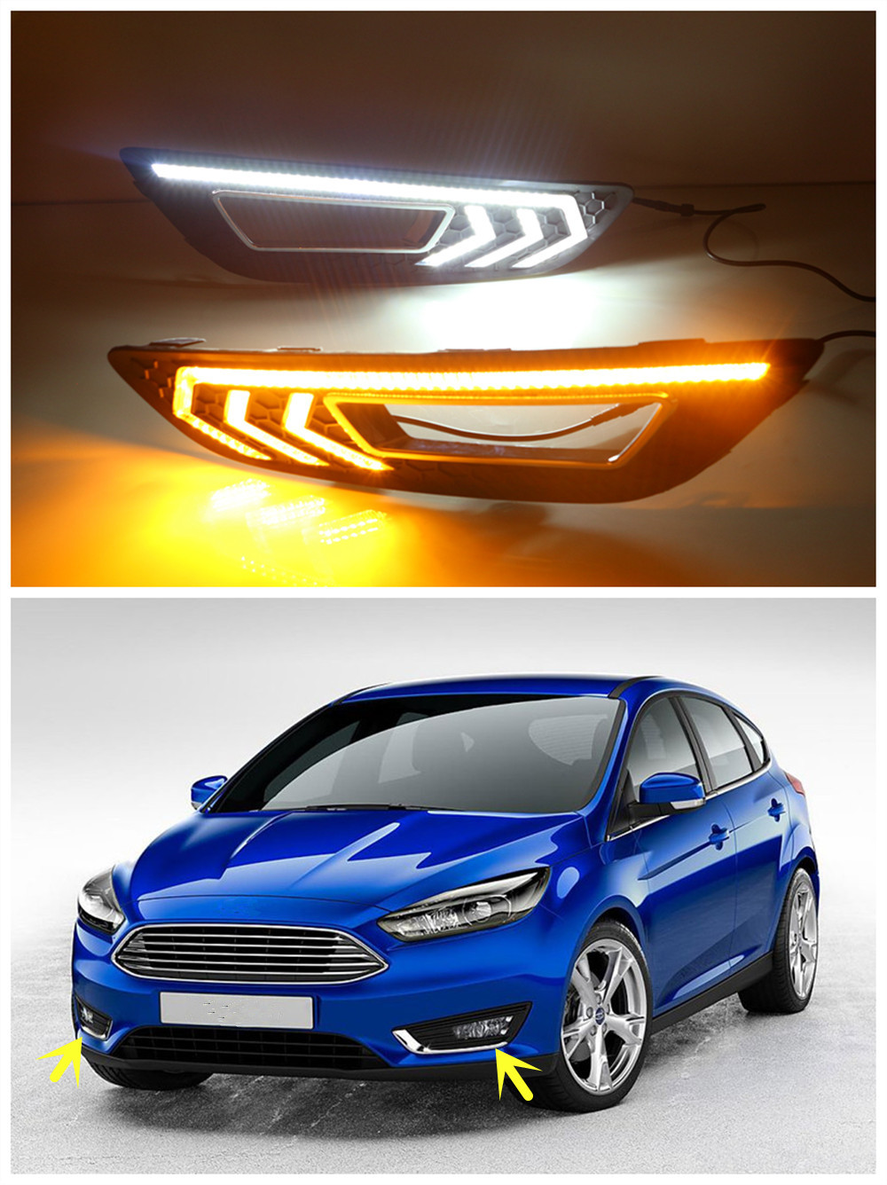 White 12V LED Car Auto Daytime Running Lights DRL Fog Lamp Cover With Yellow Turn Signal Light For Ford Focus 2015 2016 car styling daytime running light drl led with turning signal fog lamp decorative 2 function for ford focus 3 2015 2016