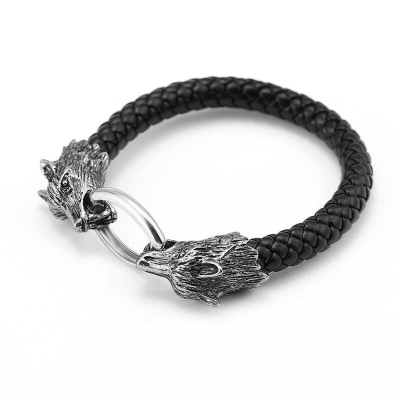 Wolf Bracelets For Men Women Accessories Screw Nail Leather Bangle Punk Gothic Charm Knot Viking Bracelet Men Jewelry Hand Chain Браслет