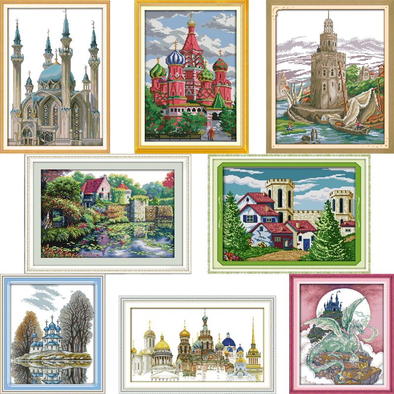 Joy Sunday Castle series Patterns DIY Handmade DMC 14ct and 11ct Cross stitch kit and Precise Printed Embroidery Needlework