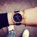 BGG Marca Nuevos Relojes De Lujo Hombres Mujeres 2016 Estilo Simple Oro rosa Cuarzo Del Dial Del Reloj Con Los Amantes De Cuero Genuino Reloj de Pulsera hora
