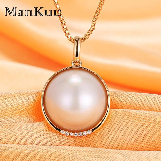 Natural Pearl Necklaces Decorate South Africa Diamond 18K Gold Necklace 18mm Round Freshwater Pearl Necklaces For Women 2