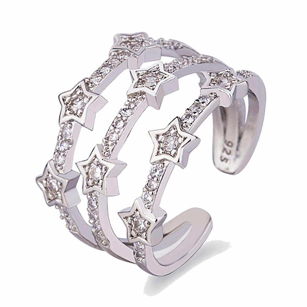 1 PC Silver Rose Gold สี Hollow แหวน Cubic Zircon Star เปิดนิ้วมือแหวนสำหรับเครื่องประดับงานแต่งงานของผู้หญิงของขวัญ