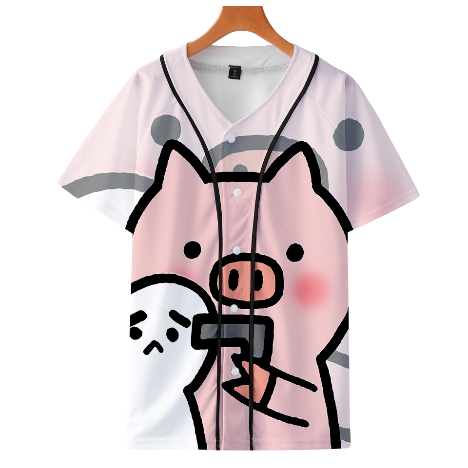 NEW 3D PIG Cute Team Baseball T-Shirt Women/Men College Clothes Loose Casual Harajuku Hot TShirt Unisex Clothes