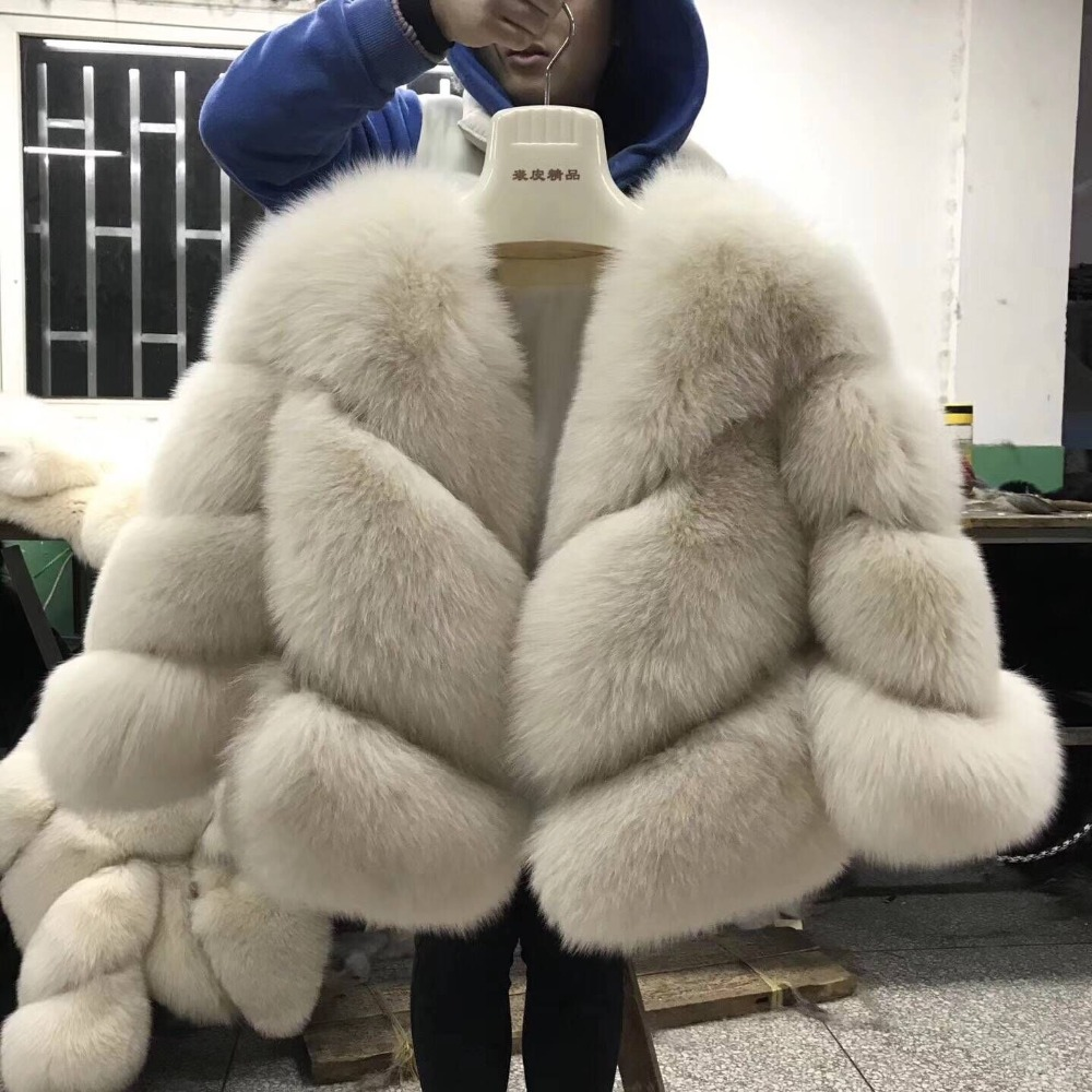 FURSARCAR 2019 New Real Fur Jacket Women Winter Fox Fur Coats Luxury Warm Fashion Twill Design Short Genuine Natural Fur Jacket