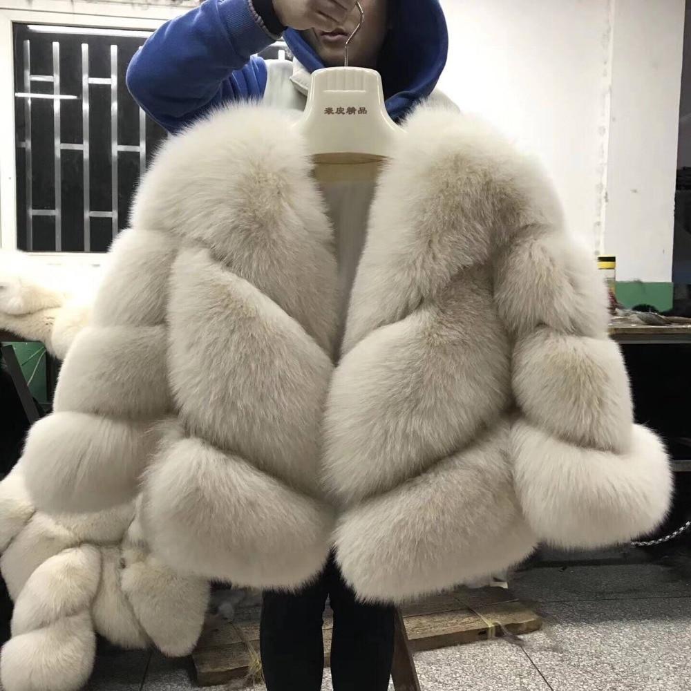 FURSARCAR 2018 Nouvelle Vraie Fourrure Veste Femmes D'hiver Renard Fourrure De Luxe Chaud De Mode Sergé Conception Courte Réel Naturel Fourrure Veste