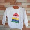 Горячая! Ins мода бобо выбирает балахон детские махровые футболка радуга палец печать для мальчик девочка возглавляет прекрасный