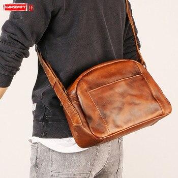 4a2589ffa6b8 Новая мужская коричневая сумка через плечо из натуральной кожи, Маленькая мужская  сумка через плечо,