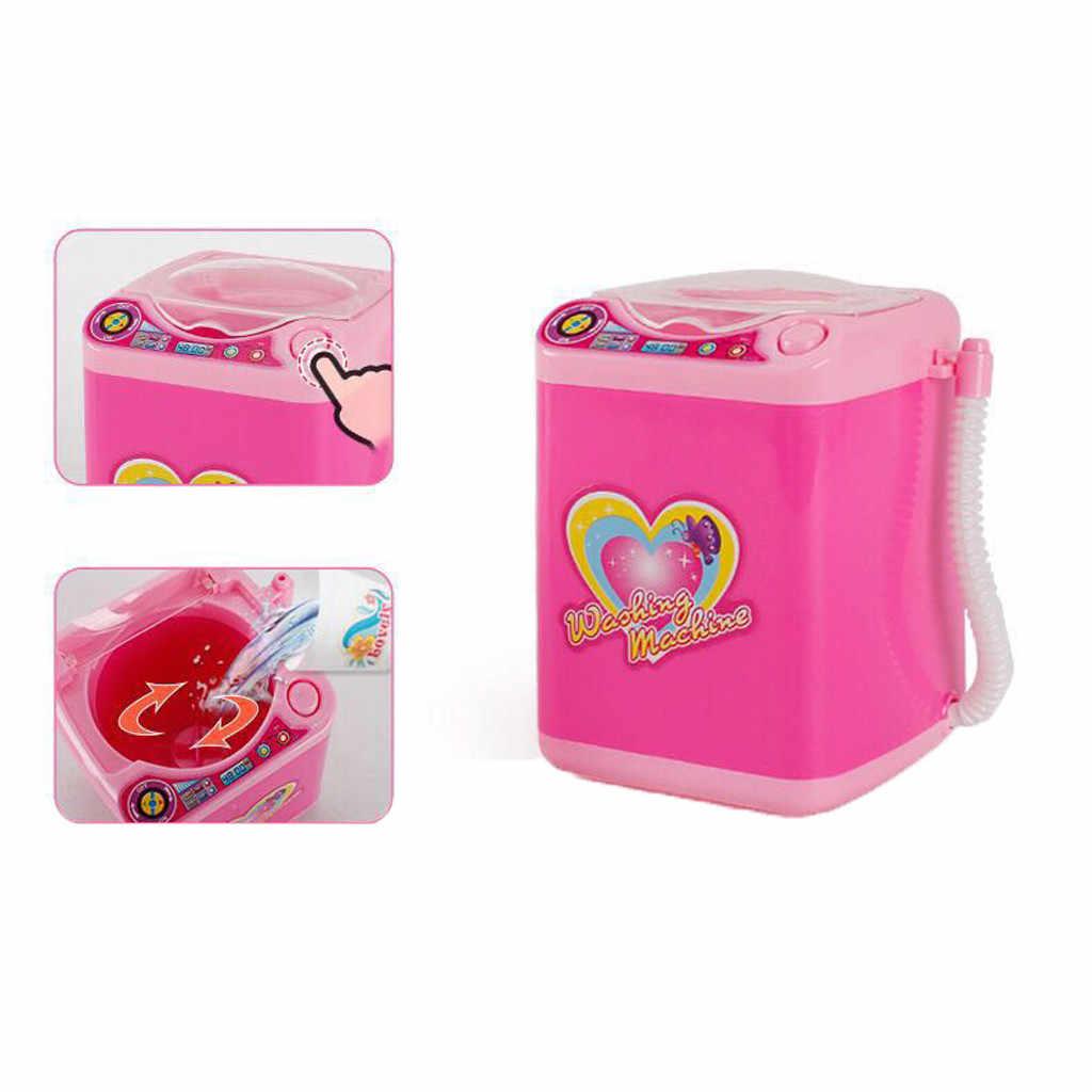 Mini Maquiagem Escova Cleaner Casa De Bonecas De Brinquedo Elétrico Automático Máquina de Lavar Roupa Beleza Cosméticos Powder Puff Blender Ferramenta de Limpeza