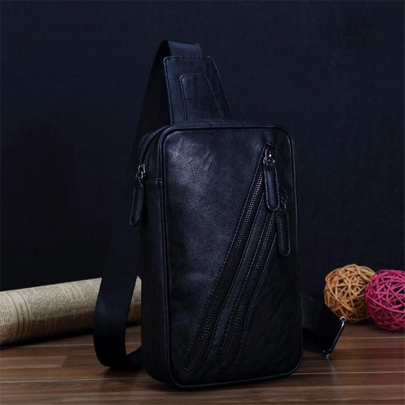 Men bags genuine leather wax chest pack large Korean package men messenger bag man mobile bag 2016 chest pack fashion