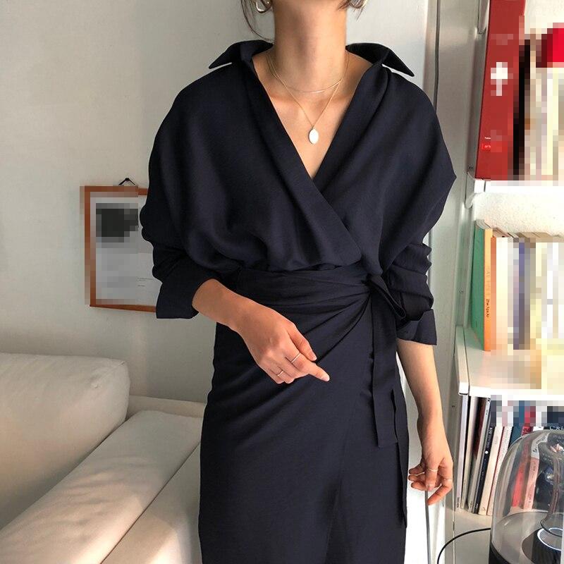 CHICEVER Bow Bandage Dresses For Women V Neck Long Sleeve High Waist Women's Dress Female Elegant Fashion Clothing New 19 8