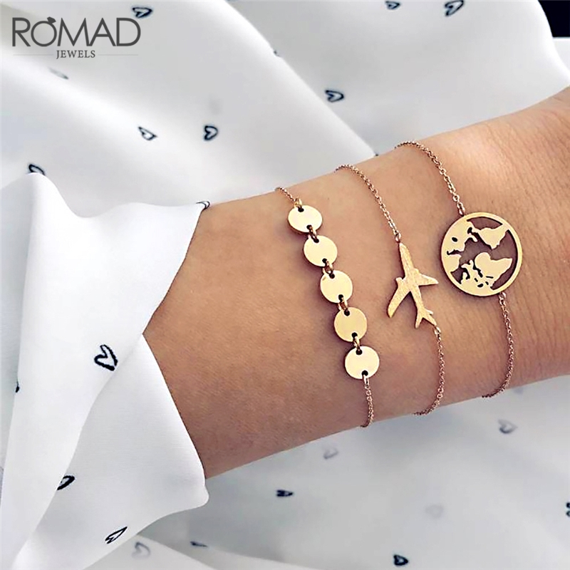 Humorous Romad 3pcs World Map Airplane Charm Bracelets For Women Creative Geometric Gold Metal Sequins Cuff Bracelets Set Jewelry R4 Online Shop