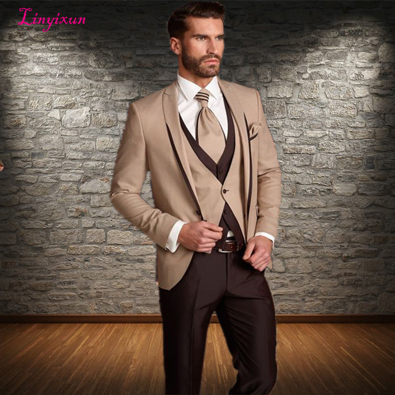 c55402c9f085cd Linyixun Customized Grey Groom Tuxedos Men Suit 2017 terno masculino  Business Suit mens wedding suits