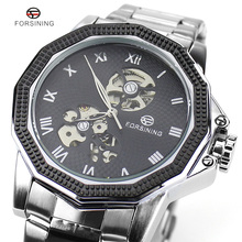 Romano Diseño Tormenta Mens Warches Businese Forsining Marca Masculina de Lujo Completa de Acero Inoxidable Esqueleto Relojes Automáticos