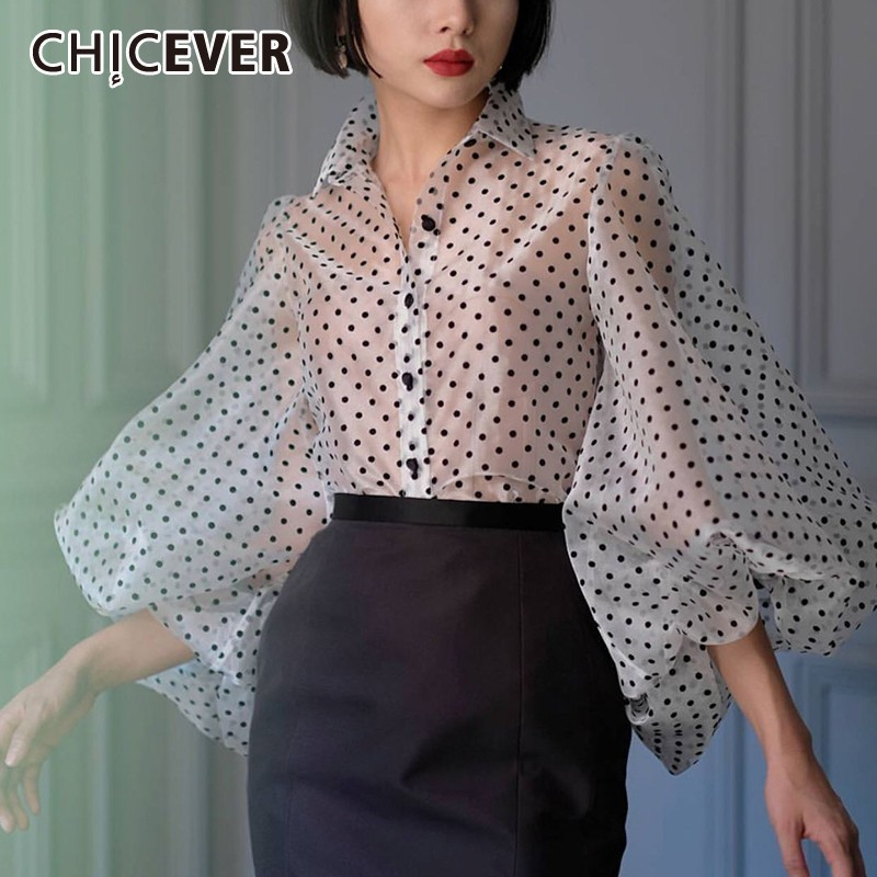 CHICEVER Summer Vintage Dot Perspective Women's Blouse Lapel Collar Long Puff Sleeve Button Loose Top Female Fashion New 2019