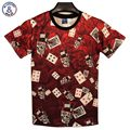 Mr.1991INC New Fashion men's 3D t-shirt funny printed smoking skull poker means Gambling is death top tees 3d Tshirt DT33