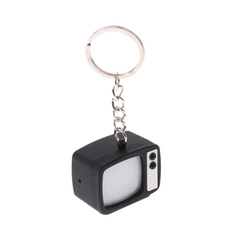 Creative Television LED Keychain Key Holder Mini TV Sound Light Up Decor Gift