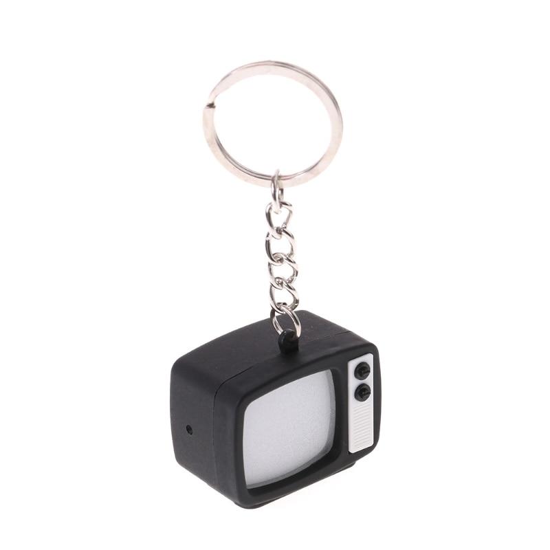 Creative Television LED Keychain Key Holder Mini TV Sound Light Up Decor Gift