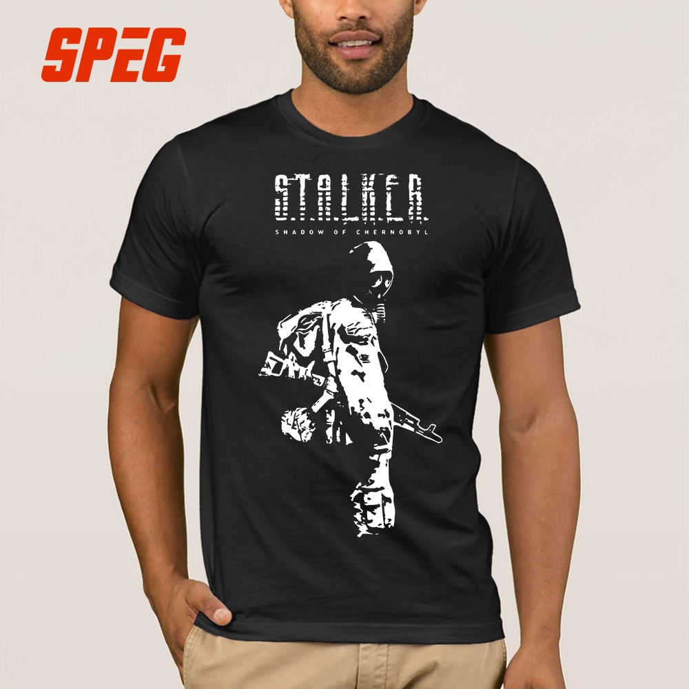 T Shirts Stalker SOC White Shadow of Chernobyl Cotton Tee Shirts Relaxed Fit Short Sleeve T-Shirts Plus Size Men Crew Collar