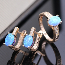 JY Fashion Five Colors Fire Opal  Jewelry Sets Champagne Gold Color jewelry sets Include Ring& Earring For Women Cute Love Gift