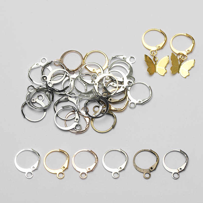 50 Pcs 13X15 Mm Emas Warna Perak Bahasa Perancis Anting-Anting Hook Earwire Anting-Anting Fitting Telinga Pengaturan Dasar untuk DIY membuat Perhiasan Aksesoris