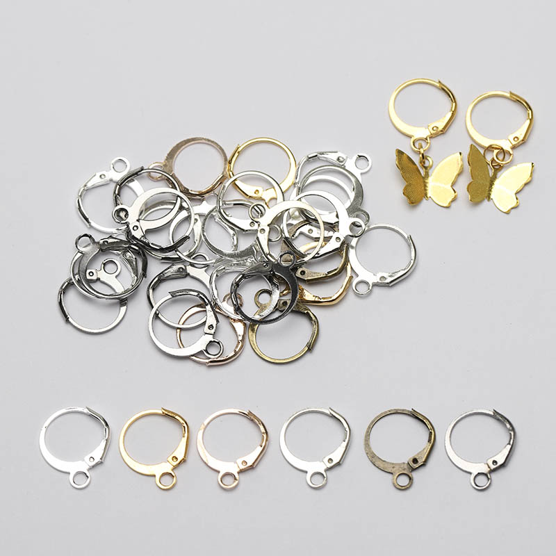 50pcs 13x15mm Gold Silver Color French Earring Hook Earwire Earrings Fitting Ear Setting Base for DIY Jewelry Making Accessories