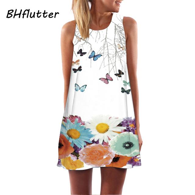 BHflutter Sleeveless Boho Beach Dress Women Floral Print Mini Summer Dress New A line Casual Chiffon Dresses Vestidos Mujer