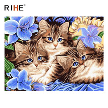 RIHE Cat Purple Flower Diy Painting By Numbers Animal Oil On Canvas Hand Painted Cuadros Decoracion Acrylic Paint Art